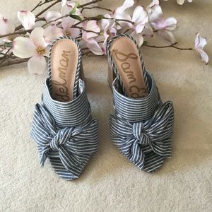 Sam Edelman Yumi Striped Bow Mules Block Heels 6.5